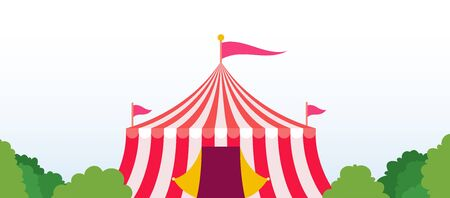 Red striped circus tent with flags in a park area vector flat icon isolated on white Illusztráció