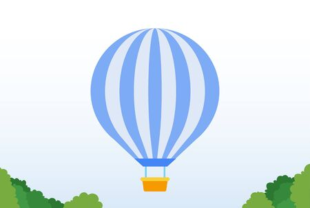 Striped balloon with a basket in the amusement park vector flat icon isolated on white