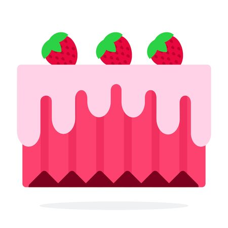Strawberry cake with berries vector flat material design object. Isolated illustration on white background.