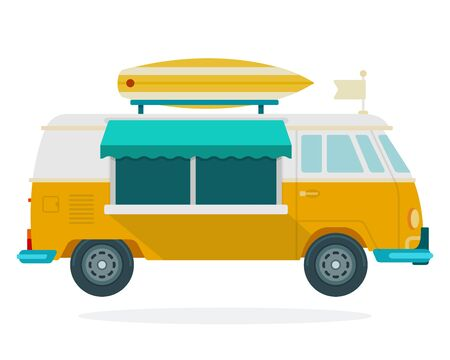 Van for travel vector flat material design isolated object on white background. Illustration
