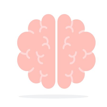 Human brain vector flat material design object. Isolated illustration on white background.