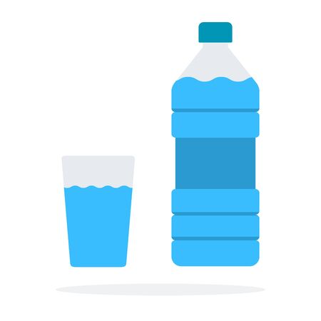 Bottle of water with glass vector flat material design object. Isolated illustration on white background.