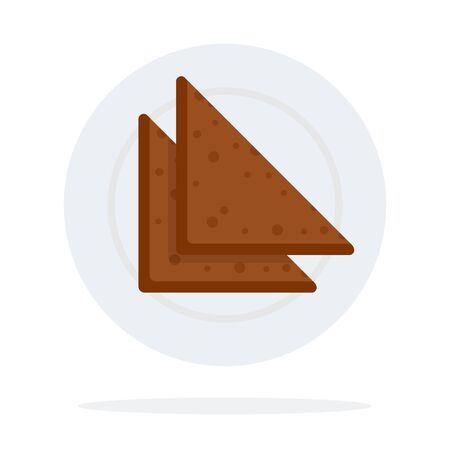 Triangular bread on a plate vector flat material design object. Isolated illustration on white background.