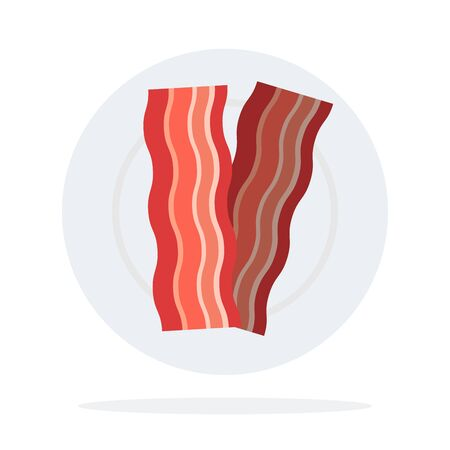 Bacon on a plate vector flat material design isolated object on white background.