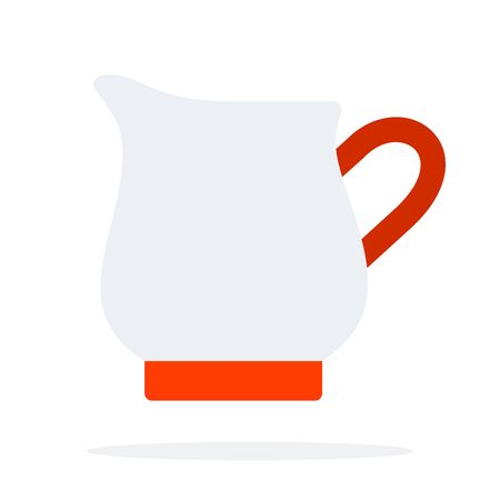 Jug of cream and milk vector flat material design isolated object on white background.