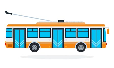 Trolleybus vector flat material design isolated on white
