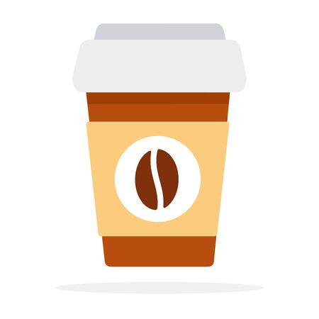 Paper coffee mug with coffee grain logo vector flat isolated Иллюстрация