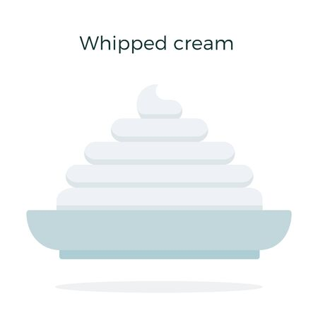 Whipped cream on a plate vector flat material design isolated on white
