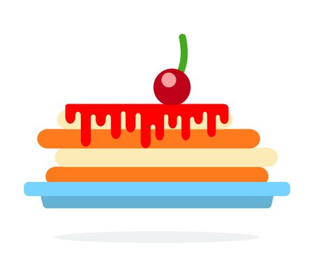 Pancake on a plate with cherry sauce vector flat material design isolated on white