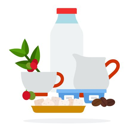 Bottle of milk jug of cream and sugar cubes vector flat material design isolated on white Ilustração