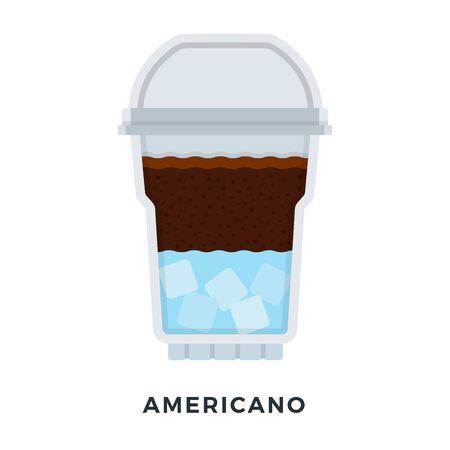 Americano ice coffee in a clear plastic glass vector flat isolated Stock Illustratie