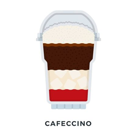 Cafeccino with ice in a clear plastic glass vector flat material design isolated