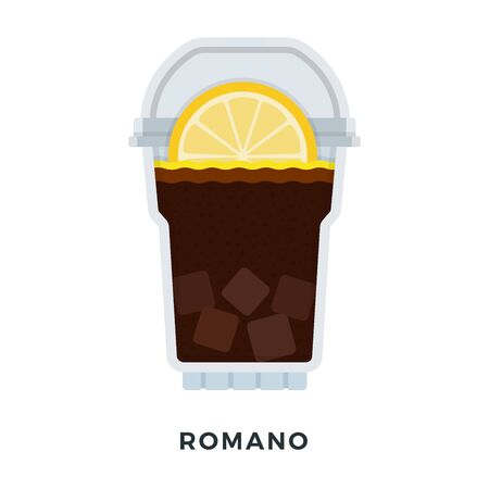 Romano ice coffee with lemon in a clear plastic glass vector flat isolated