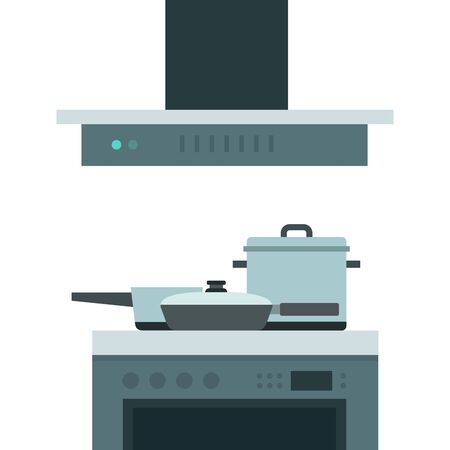 Cooking hob with extractor fan vector flat isolated