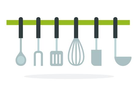 Meat fork blade, soup ladle, corolla, a spoon hanging on the ledge vector flat material design isolated on white