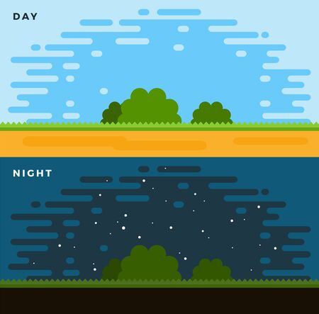 Day and Night flat vector illustration