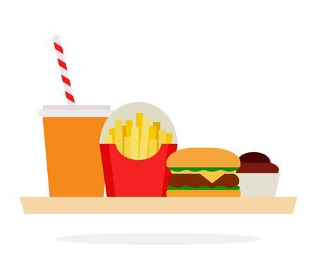 Bicchiere con bevanda e paglia, hamburger, patatine fritte nel pacchetto e un muffin su un vassoio vettoriale design materiale piatto isolato su bianco