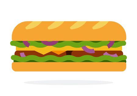 Baguette mit Salat, Zwiebeln, Speck, Schweinefleisch und Käse Vektor flaches Materialdesign isoliert auf weiß