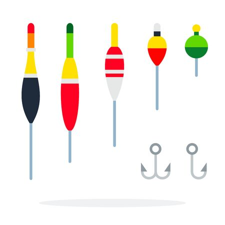 Set of floats and hooks for fishing vector flat material design isolated on white