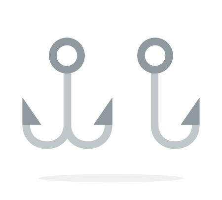 Single hook and Double Hook for fishing vector flat material design isolated on white