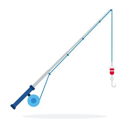 Spinning para el diseño de material plano de vector de pesca aislado en blanco