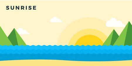 Sunrise on the beach vector illustration