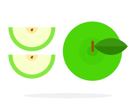 Whole green apple and apple slices top view flat isolated