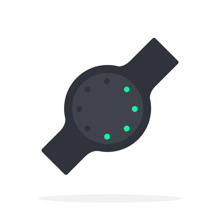 Fitness tracker with a round dial vector flat material design isolated on white