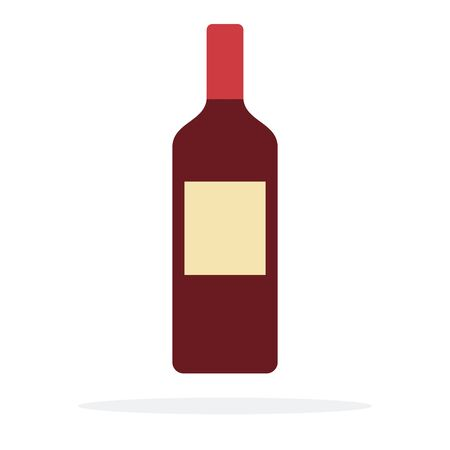 A bottle of red wine flat material design isolated on white