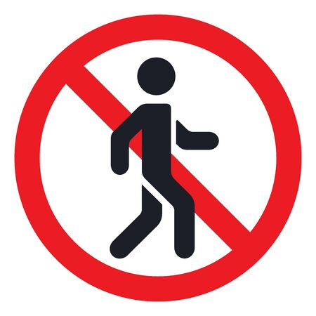 Traffic sign prohibiting traffic of pedestrians vector flat material design isolated on white
