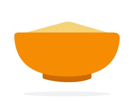 Grain cous cous in an orange dish vector flat material design isolated on white