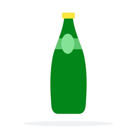 Green glass water bottle flat isolated