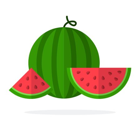 A whole watermelon and slices of watermelon with seeds flat isolated Ilustração