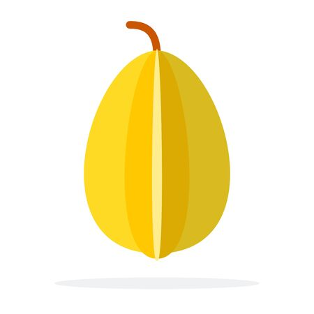 Whole fruit of the carambola vertically flat isolated Иллюстрация