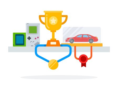 Awards, medals and game consoles on the table vector flat material design isolated on white