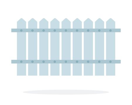 Gray Wooden fence vector flat material design isolated on white