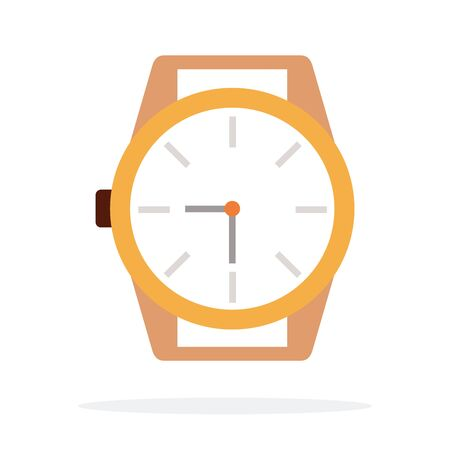 Mechanical wristwatch without strap vector flat material design isolated on white Illustration
