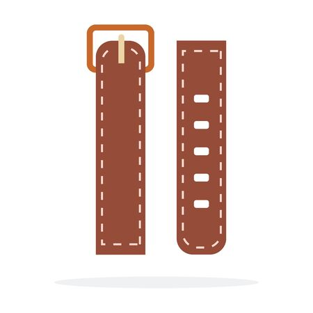 Leather worm strap for watches vector flat material design isolated on white