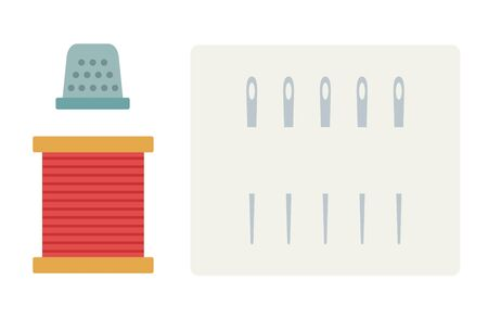 Skein of red thread, thimble and a set of sewing needles vector flat icon isolated on white
