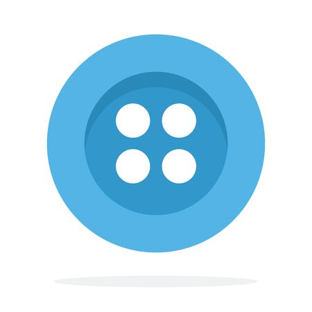 Blue button with four holes vector flat material design isolated on white Çizim
