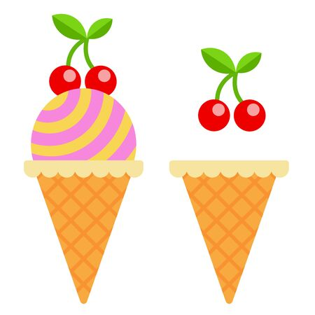 Waffle cone with ice cream ball and empty waffle cone with cherry twig flat isolated