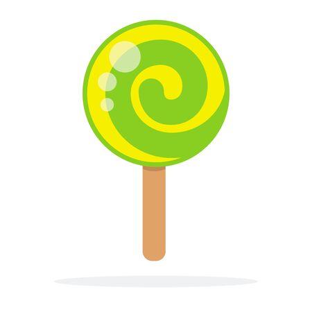 Green round lollipop swirl on stick vector flat isolated