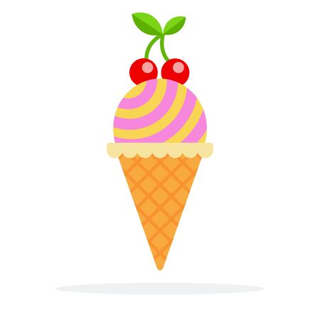Striped ice cream ball in waffle cone with cherry twig flat isolated