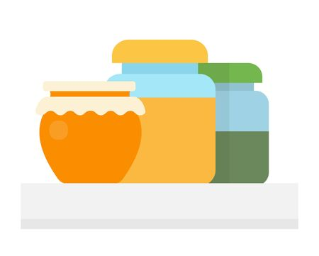 Glass pots with honey flat isolated Illustration