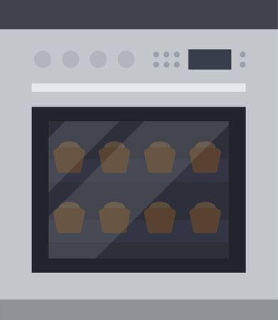Cup cakes in the oven flat isolated