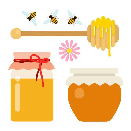 Honey set of cans of honey, spoon and bees vector flat isolated