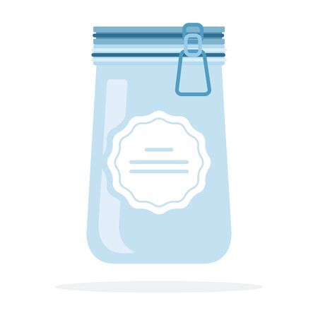 Empty glass jar with lid on the lock flat isolated