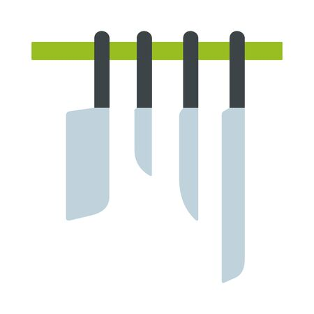 Kitchen knives on the bracket vector flat material design isolated on white