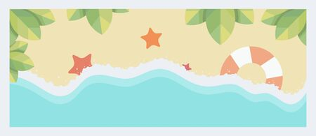 Sand beach and a sea wave vector flat illustration.