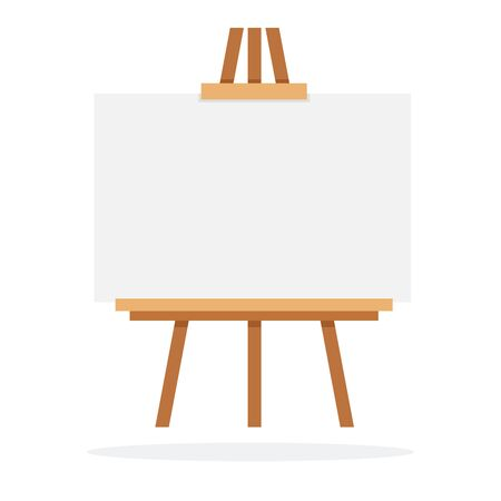 Wooden easel with whiteboard vector flat material design isolated on white